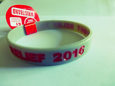SPORT RELIEF 2016 WRISTBANDS x 2 LIGHT GREY WITH RED WORDING. BRAND NEW