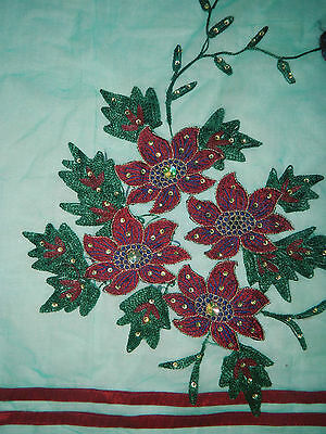 "25"" x 17"" VINTAGE  Decorative Floral Design Appliques Craft Sewing Fabric Patch"