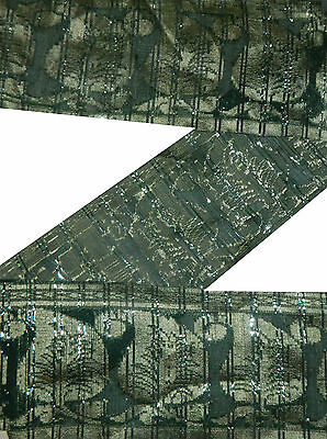 "6"" W Vintage Paisley Sari Border Craft Silk Trims Hand Woven Green Ribbon 4.5 Yd"