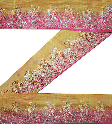 "3.5"" Wide Vintage Sari Border Woven Floral Silk Indian  Pink Craft Lace 5.5 Yd"