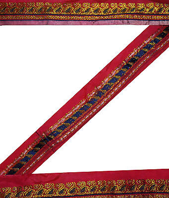 "1.5"" W Vintage Sari Border Silk Craft Ribbon Woven Trim Floral Magenta Lace 6 Y"