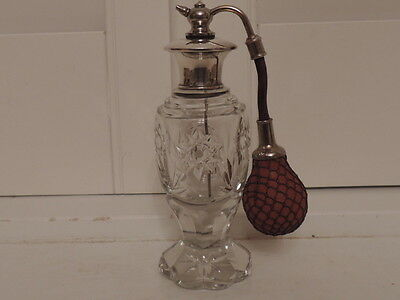 Fabulous Sterling Silver & Cut Glass w/Atomizer Perfume/Scent Bottle
