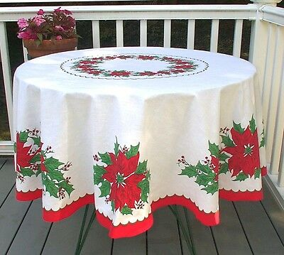Vintage Round Christmas Tablecloth Red Green Holly Poinsettias