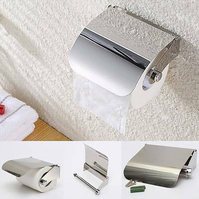 2 pc Stainless Steel Bathroom Toilet Paper Holder Roll Tissue Box Wall Mounted n