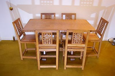 robert mouseman thompson style dining table and lattice back chairs oak