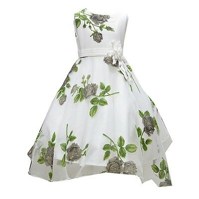 Girls Gorgeous Green Flower Printed Sefun Party Wedding Dress 2 TO 12 YEARS