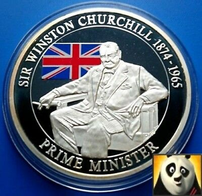 2009 Prime Minister Winston Churchill 40mm Silver Plated Proof Medal Coin + COA