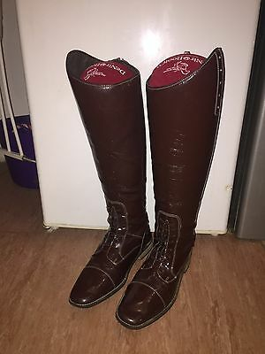Diamanté Patent Brown Competition Field Long Tall Boots Size 9 Short Wide