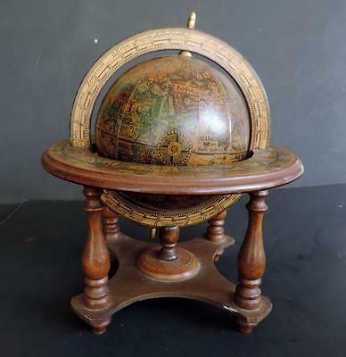 "Vintage Astrology Globe 10"" Wood Base Made in Italy"