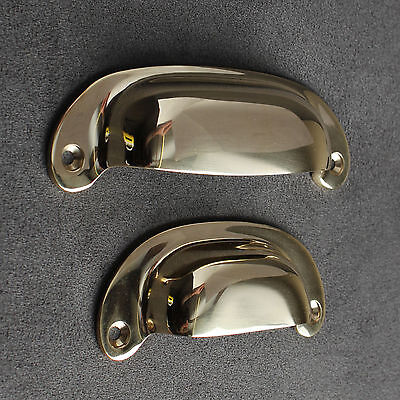 Antique Solid Brass Cabinet Cup Pull Handles Door Cupboard Kitchen - Polished