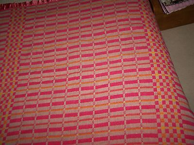 Vintage Pink and Orange Checked Wool Blanket Checkerboard Extra Long 56x110