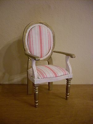 Dollshouse miniature ~ IVORY, PINK & GOLD ~ Chair
