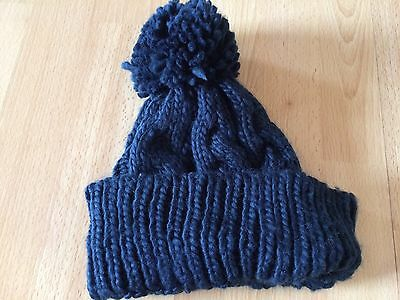 Ladies Navy Bobble Hat