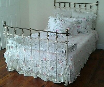 1890's Antique IRON Bed~FULL Size~CURVED ft board~Shabby Chippy Patina French
