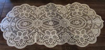 Fine Antique French Alencon Lace Table Runner Doilies