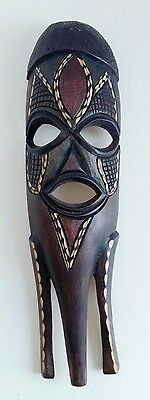 Vintage Hand Carved Wooden African Mask Dark Stained