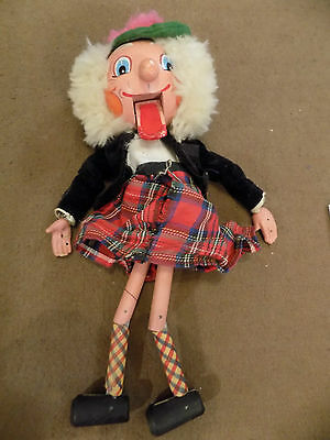 Vintage Wooden Scottish Hand Puppet With Ceramic Hands V.good Condition