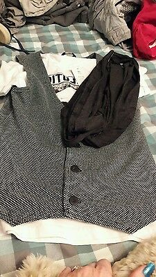 boys trendy black and white tshirt and waistcoat age 11 to 12