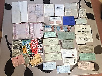 Interesting Selection Of Ephemera - Old Paperwork/Receipts/Cheques/Coupons Etc