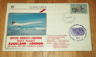'Concorde', 1st Flight Auckland N.Z. - London, Postal Cover.  1986.  Very Rare.