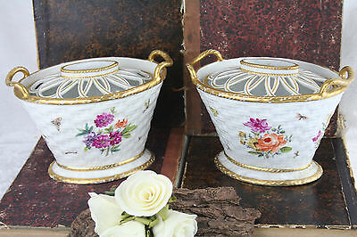 PAIR antique french pique fleurs flower vases Faience marked
