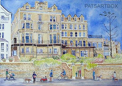 Signed Cornish art prints, Fowey hotel in summer, south Cornwall,10x8 inch print