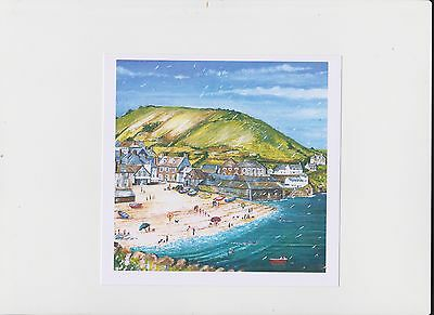 signed cornwall print of port isaac doc martins house 8x8 inch,aperture 140mm sq