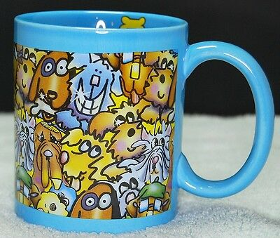 DOGS ALL OVER Coffee Cup MUG Cool dOG COLORFUL signed by DEBBY CARMAN