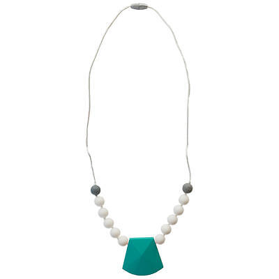 Itzy Ritzy Teething Happens Chewable Charm Necklace - Turquoise