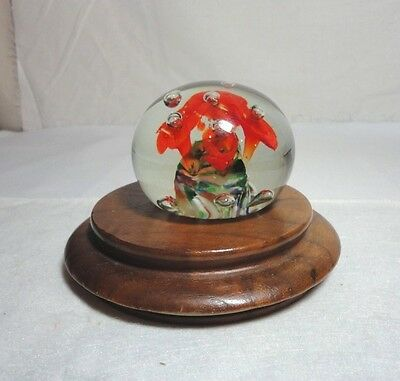 Art Glass Vintage Paperweight Clear Orange Trumpet Flowers Controlled Bubbles