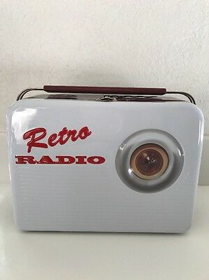 Collectible Retro Radio White Tin Lunchbox with Handle New Empty