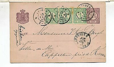 Nederland Ps Card Leiden To Cappellen Belgium 1898 Made-Up Rate 3 Added Values
