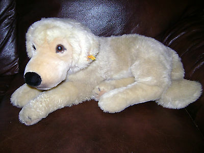 "Steiff Dog Plush 19"" Large Golden Retriever Stuffed Animal Very Rare #668838"