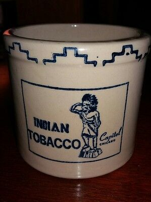 Vintage Stoneware Indian Tobacco Capitol Chicago Crock