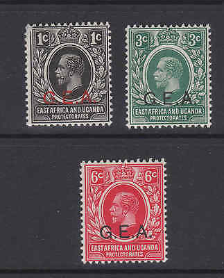 3 GV East Africa and Uganda Protectorate GEA overprinted stamps MNH