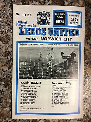 Leeds United V Norwich City FA Cup 3rd Round Replay 1973