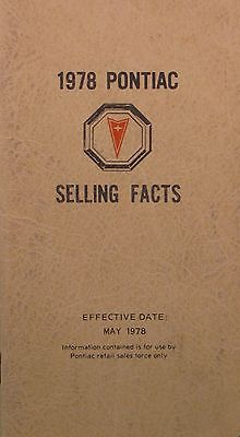 1978 Pontiac Selling Facts booklet - May 1978