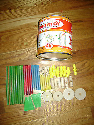 Hasbro Classic Tinkertoy Construction Mini Set 46 Pieces In Box Real Wood Rare