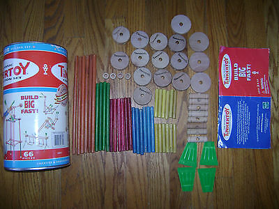 Hasbro Tinkertoy Construction Set Junior Builder 66 Pieces In Box Real Wood Rare