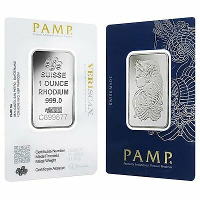 1 oz Platinum PAMP Suisse Rhodium Bar .999 Fine (In Assay)