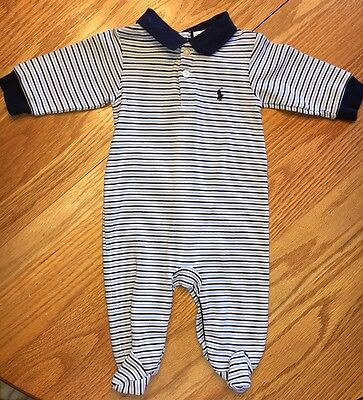 Ralph Lauren White & Blue Footed One Piece Longall Outfit Baby Boy Size 6 Months