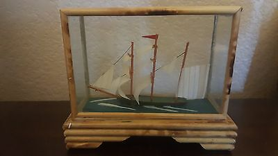 Model Ship In Wood/Glass Bamboo Display Case A5