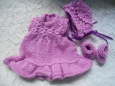 """Doll Clothes violet Hand-knitted dress set fit Heidi Ott 8"""" Berenguer Lots Love"""