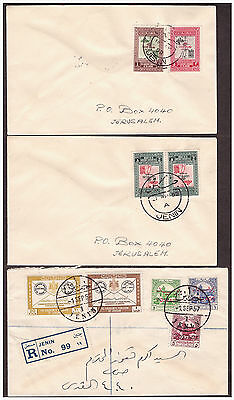 Jordan Palestine JENIN 3 covers with 3 types of Postmarks, 1 cover is Registered