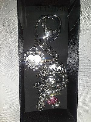 "Beautiful GLITZY KEY-RING 3"" dog & 1"" heart-shape WATCH ALEXIS BENDER boxed"