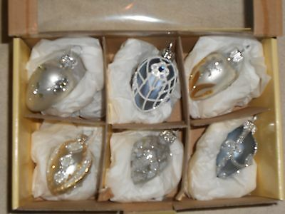 6 Mercury Glass Easter Egg Ornaments Hand Blown & Painted Poland L