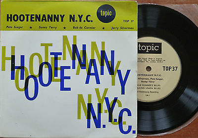Pete Seeger Sonny Terry - Hootenanny NYC 45 1958 Topic TOP37 RARE Misspelled
