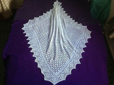 Beautiful! New White hand knitted baby shawl/blanket ,SQUARE