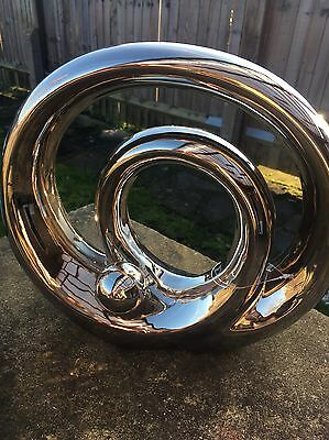 New Contemporary Large Spiral Shape Modern Chrome Silver Sculpture Ornament Gift