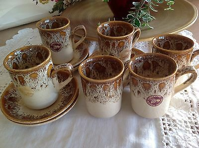 FOSTERS POTTERY Cornwall~*HONEYCOMB*~6  COFFEE CUPS/ MUGS & SAUCERS -Light Brown